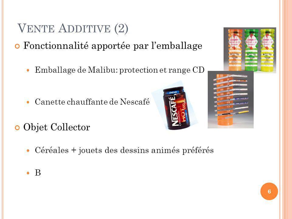 V ENTE A DDITIVE (2) Fonctionnalité apportée par lemballage Emballage de Malibu: protection et range CD Canette chauffante de Nescafé Objet Collector