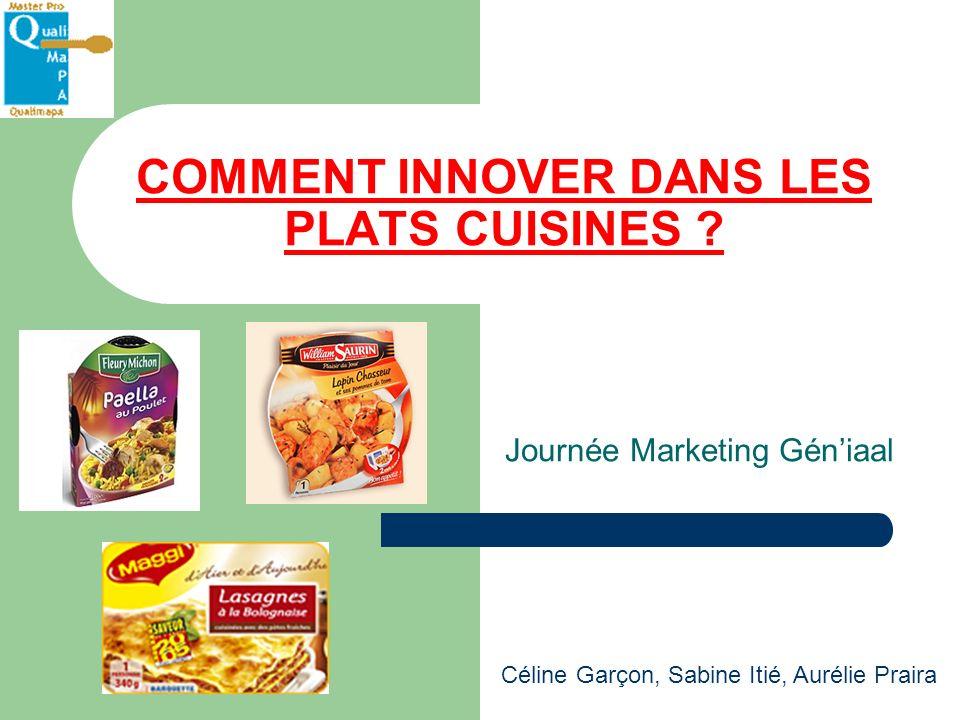 COMMENT INNOVER DANS LES PLATS CUISINES ? Journée Marketing Géniaal Céline Garçon, Sabine Itié, Aurélie Praira