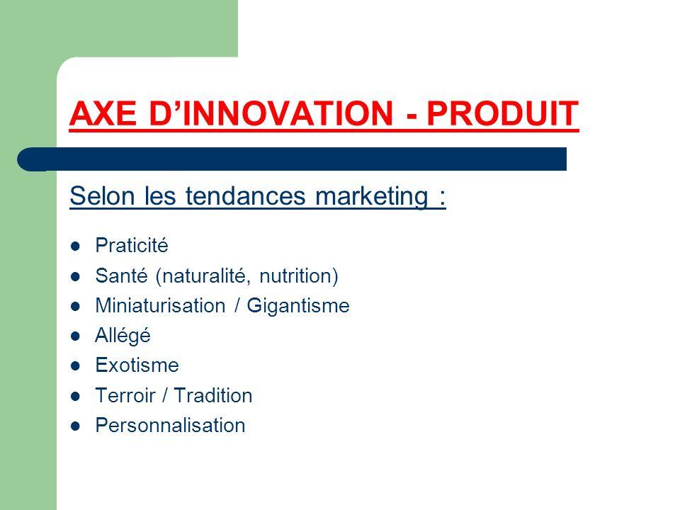 AXE DINNOVATION - PRODUIT Selon les tendances marketing : Praticité Santé (naturalité, nutrition) Miniaturisation / Gigantisme Allégé Exotisme Terroir