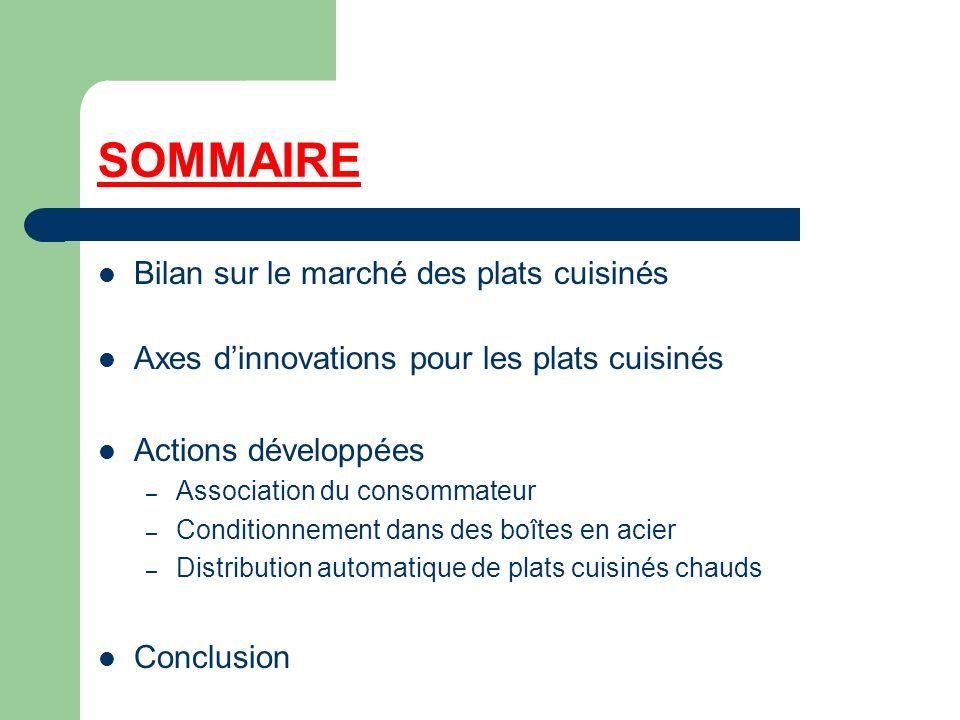 SOMMAIRE Bilan sur le marché des plats cuisinés Axes dinnovations pour les plats cuisinés Actions développées – Association du consommateur – Conditio