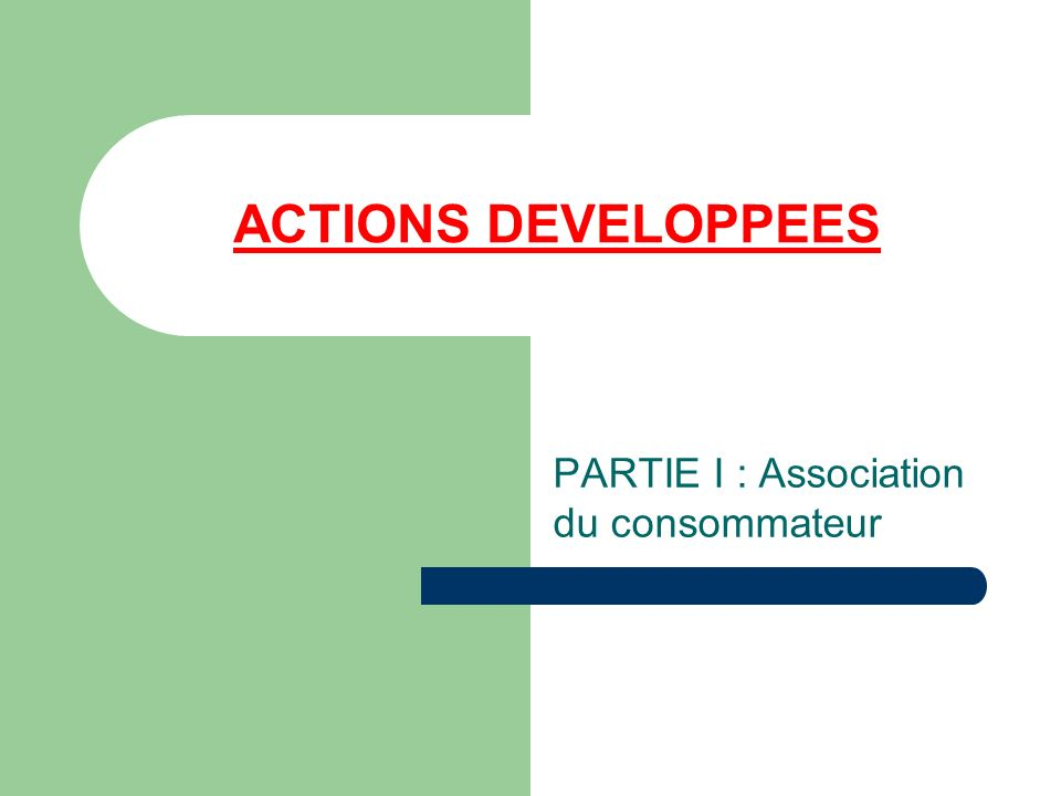 ACTIONS DEVELOPPEES PARTIE I : Association du consommateur