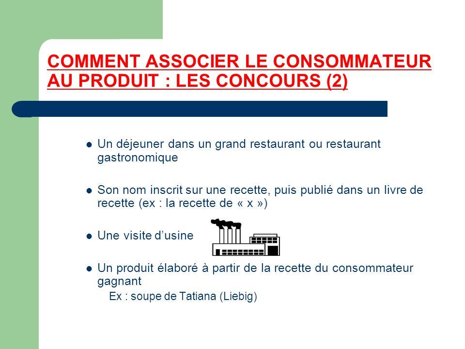 COMMENT ASSOCIER LE CONSOMMATEUR AU PRODUIT : LES CONCOURS (2) Un déjeuner dans un grand restaurant ou restaurant gastronomique Son nom inscrit sur un
