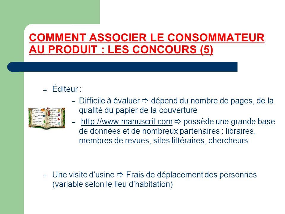 COMMENT ASSOCIER LE CONSOMMATEUR AU PRODUIT : LES CONCOURS (5) – Éditeur : – Difficile à évaluer dépend du nombre de pages, de la qualité du papier de
