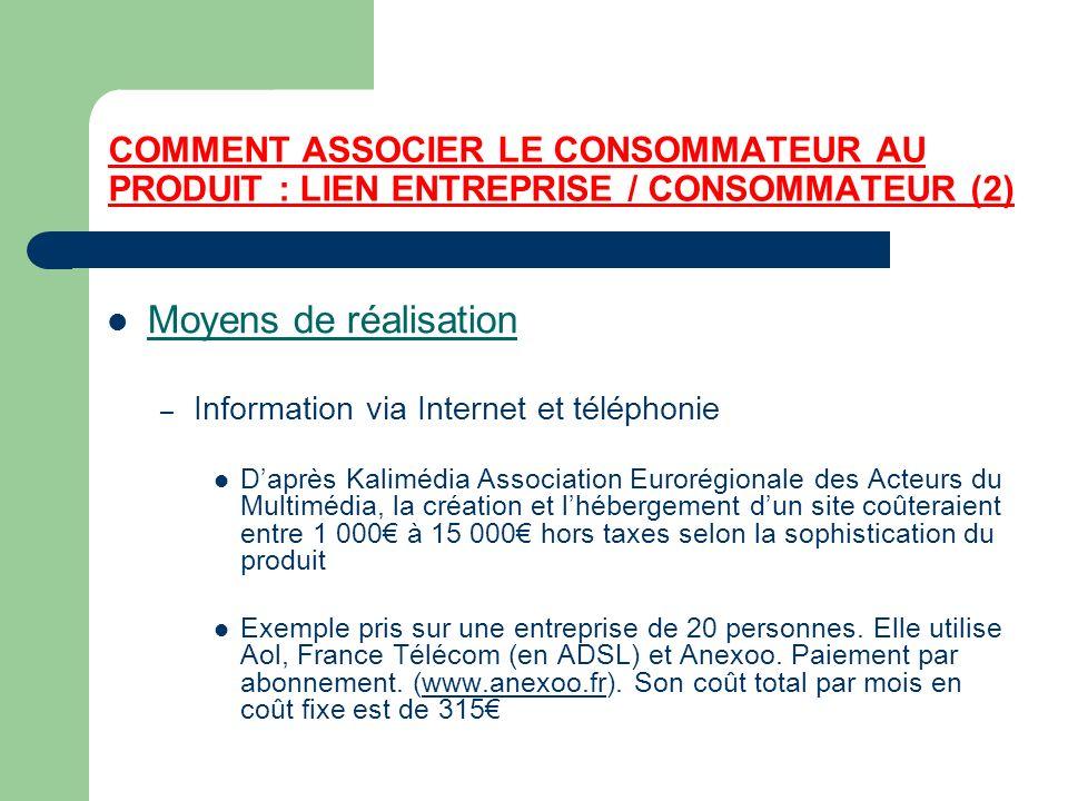 COMMENT ASSOCIER LE CONSOMMATEUR AU PRODUIT : LIEN ENTREPRISE / CONSOMMATEUR (2) Moyens de réalisation – Information via Internet et téléphonie Daprès