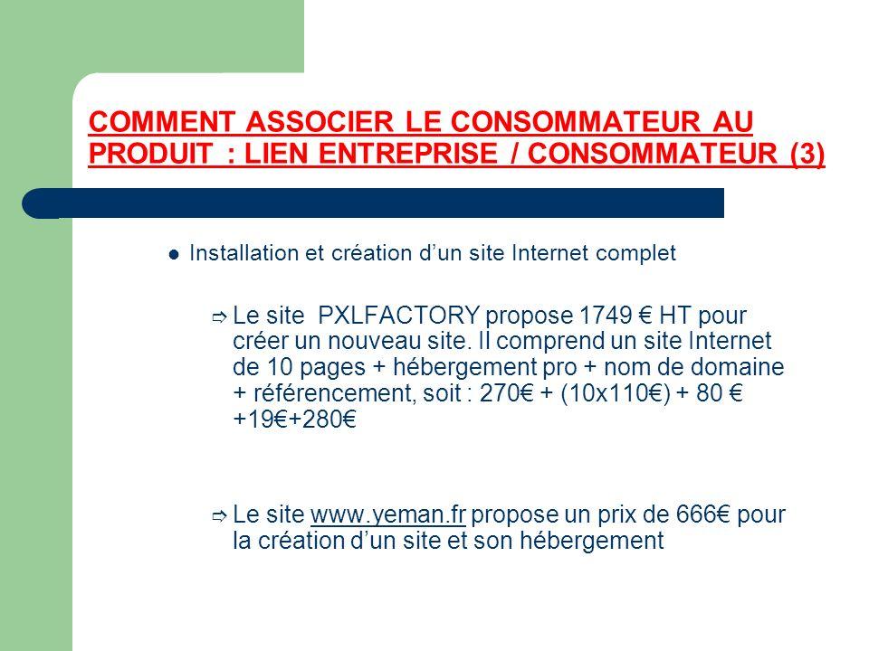 COMMENT ASSOCIER LE CONSOMMATEUR AU PRODUIT : LIEN ENTREPRISE / CONSOMMATEUR (3) Installation et création dun site Internet complet Le site PXLFACTORY