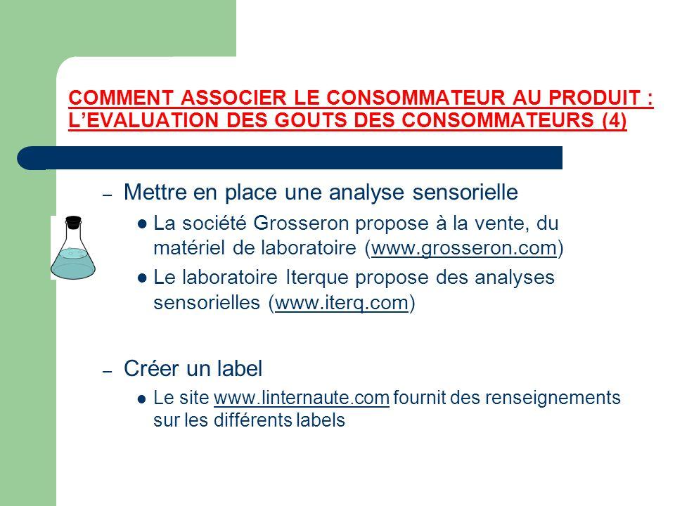 COMMENT ASSOCIER LE CONSOMMATEUR AU PRODUIT : LEVALUATION DES GOUTS DES CONSOMMATEURS (4) – Mettre en place une analyse sensorielle La société Grosser