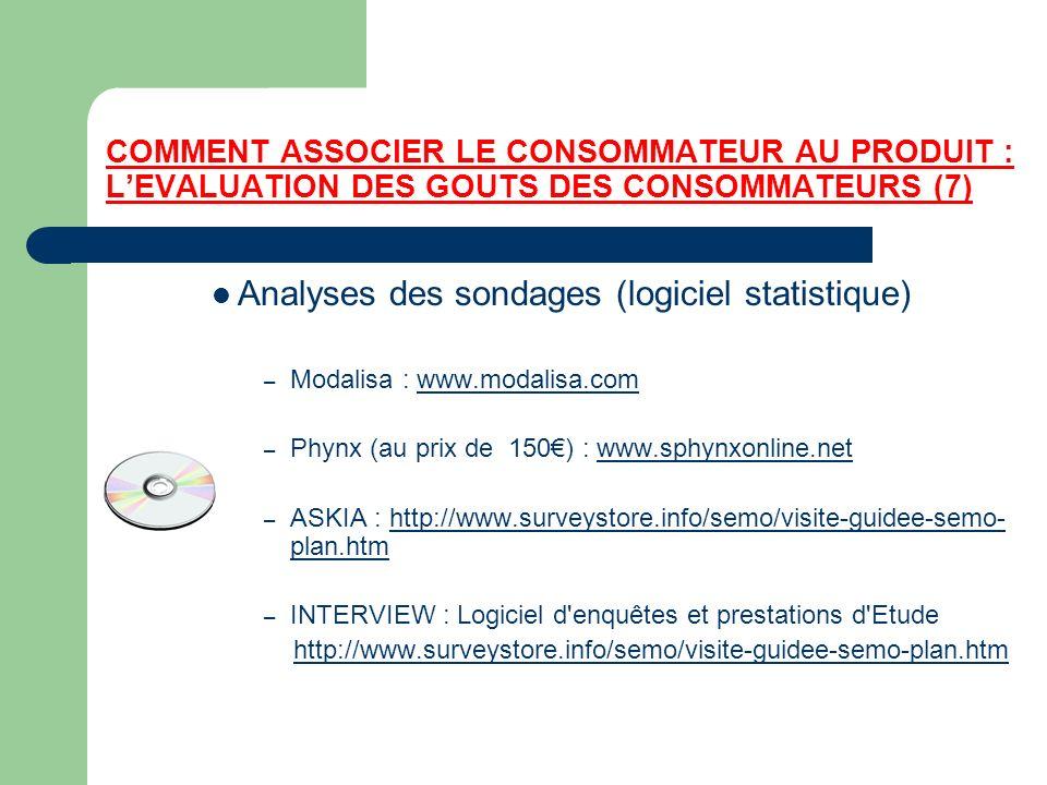 COMMENT ASSOCIER LE CONSOMMATEUR AU PRODUIT : LEVALUATION DES GOUTS DES CONSOMMATEURS (7) Analyses des sondages (logiciel statistique) – Modalisa : ww