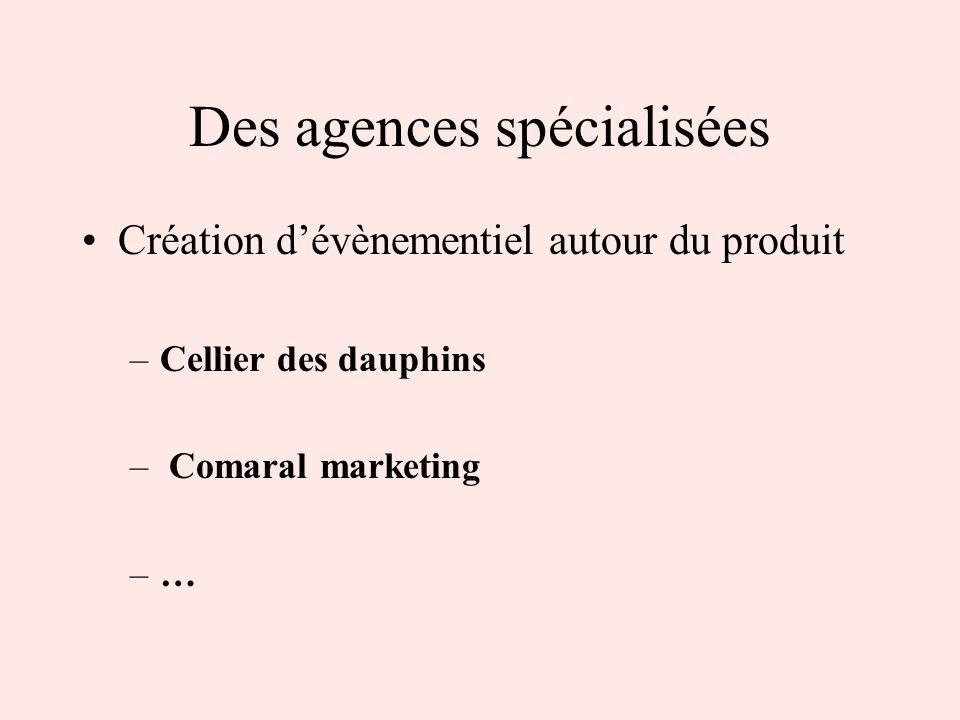Des agences spécialisées Création dévènementiel autour du produit –Cellier des dauphins – Comaral marketing –…