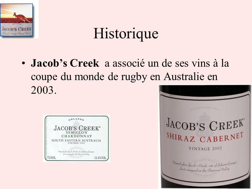 Jacobs Creek a associé un de ses vins à la coupe du monde de rugby en Australie en 2003. Historique