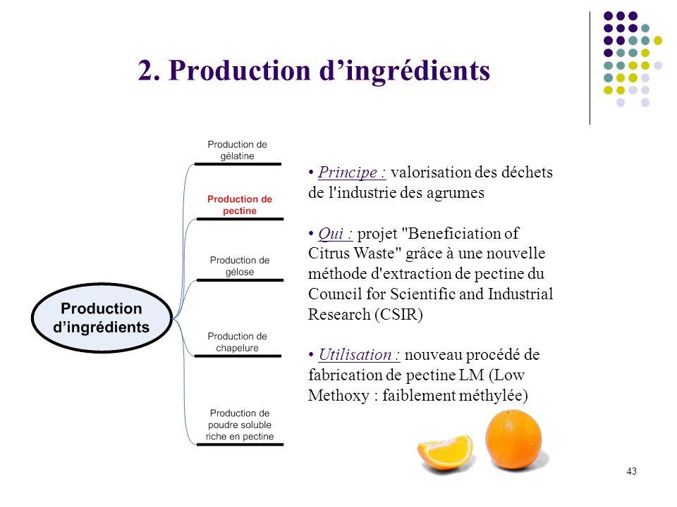 43 Principe : valorisation des déchets de l industrie des agrumes Qui : projet Beneficiation of Citrus Waste grâce à une nouvelle méthode d extraction de pectine du Council for Scientific and Industrial Research (CSIR) Utilisation : nouveau procédé de fabrication de pectine LM (Low Methoxy : faiblement méthylée) 2.