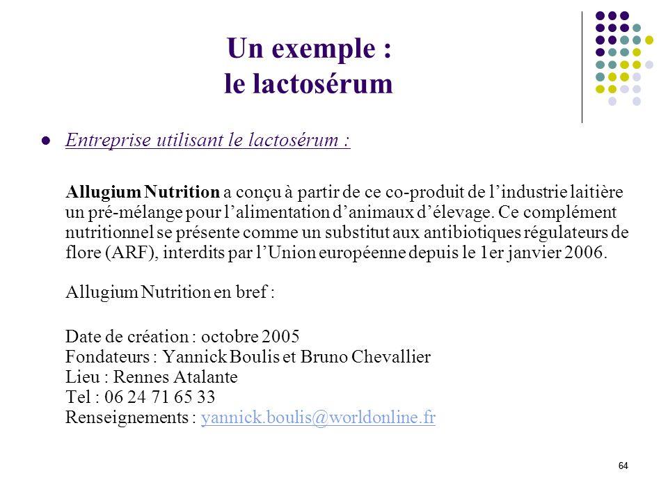 64 Un exemple : le lactosérum Entreprise utilisant le lactosérum : Allugium Nutrition a conçu à partir de ce co-produit de lindustrie laitière un pré-mélange pour lalimentation danimaux délevage.