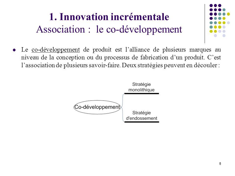 88 Le co-développement de produit est lalliance de plusieurs marques au niveau de la conception ou du processus de fabrication dun produit.