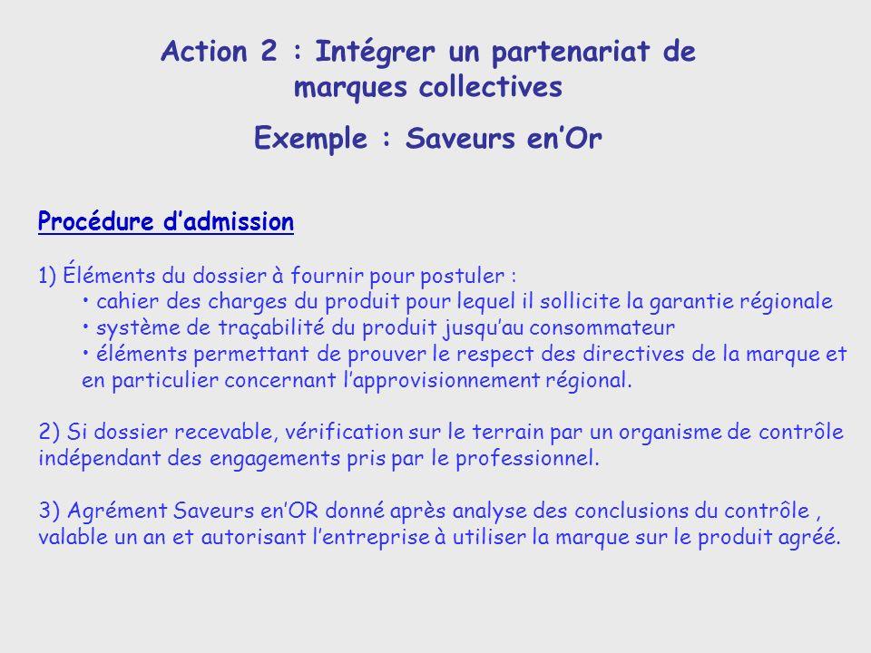 Action 2 : Intégrer un partenariat de marques collectives Exemple : Saveurs enOr Procédure dadmission 1) Éléments du dossier à fournir pour postuler :