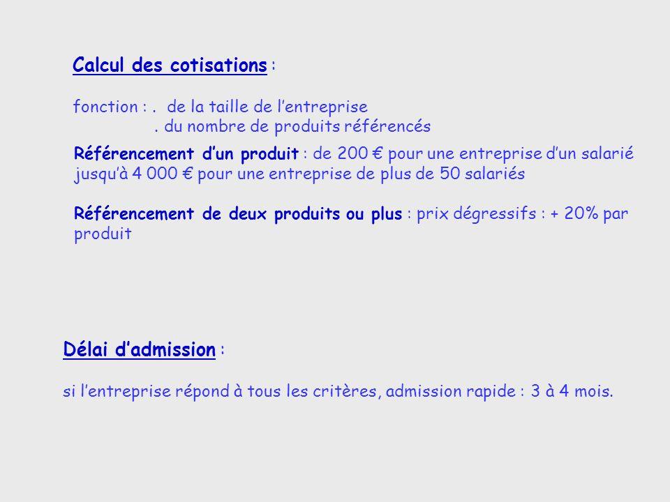 Calcul des cotisations : fonction :. de la taille de lentreprise. du nombre de produits référencés Référencement dun produit : de 200 pour une entrepr