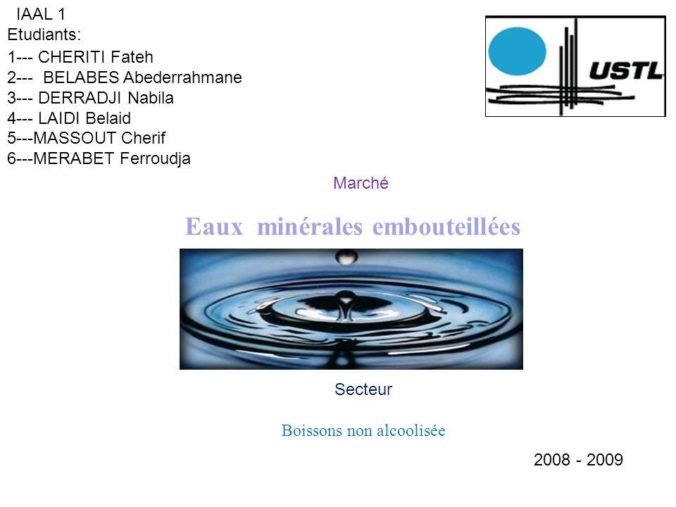 Marché Eaux minérales embouteillées IAAL 1 Etudiants: 1--- CHERITI Fateh 2--- BELABES Abederrahmane 3--- DERRADJI Nabila 4--- LAIDI Belaid 5---MASSOUT