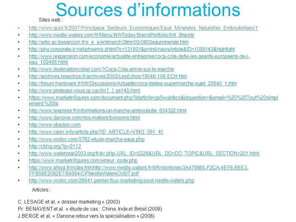 Sources dinformations http://www.quid.fr/2007/Principaux_Secteurs_Economiques/Eaux_Minerales_Naturelles_Embouteillees/1 http://www.nestle-waters.com/f