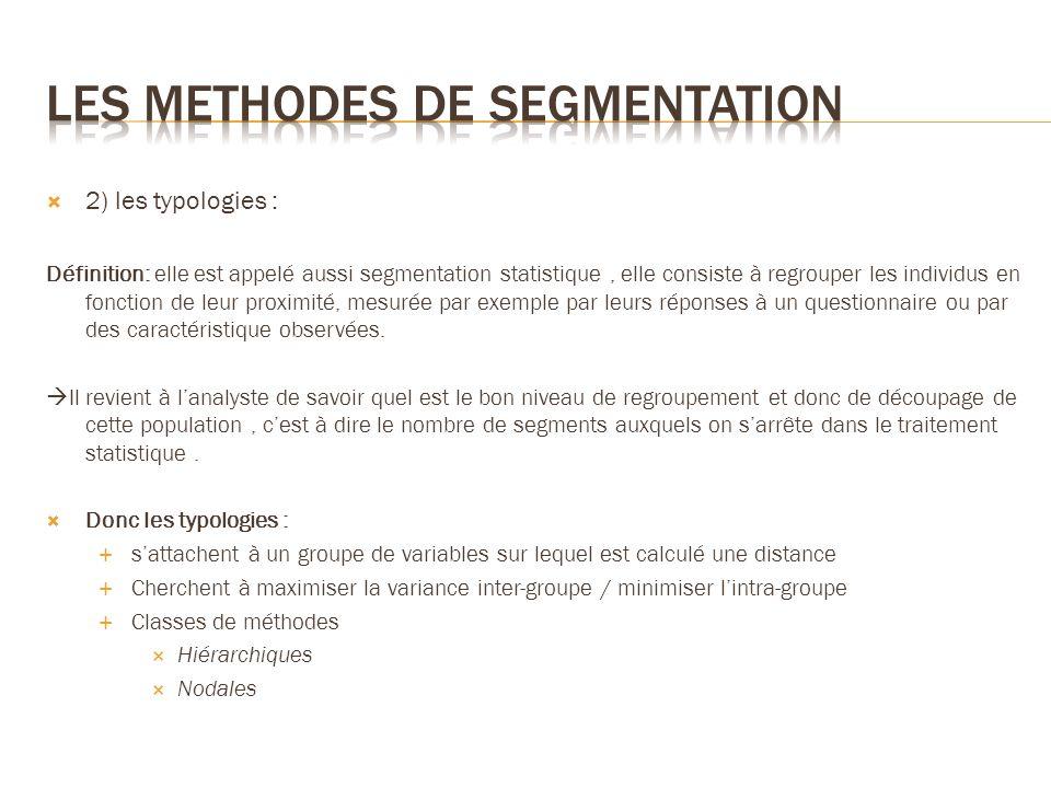 2) les typologies : Définition: elle est appelé aussi segmentation statistique, elle consiste à regrouper les individus en fonction de leur proximité,