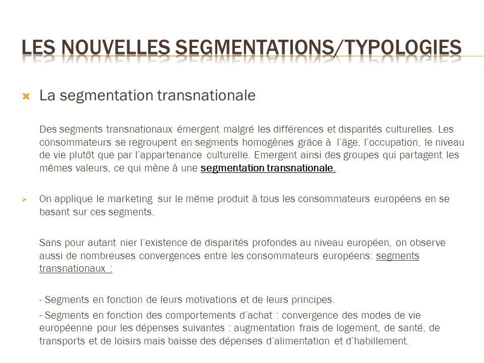 La segmentation transnationale Des segments transnationaux émergent malgré les différences et disparités culturelles. Les consommateurs se regroupent