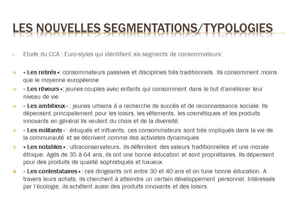 Etude du CCA : Euro-styles qui identifient six segments de consommateurs: « Les retirés »: consommateurs passives et disciplines très traditionnels. I