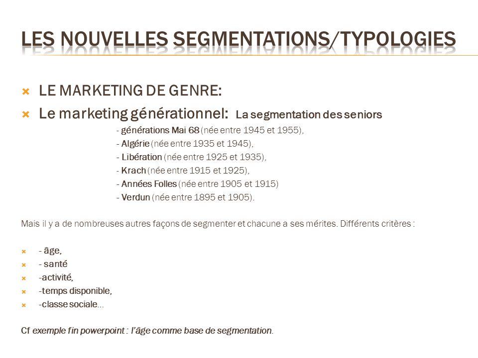 LE MARKETING DE GENRE: Le marketing générationnel: La segmentation des seniors - générations Mai 68 (née entre 1945 et 1955), - Algérie (née entre 193
