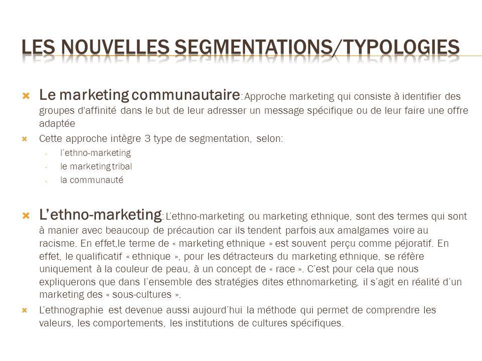 Le marketing communautaire : Approche marketing qui consiste à identifier des groupes d'affinité dans le but de leur adresser un message spécifique ou