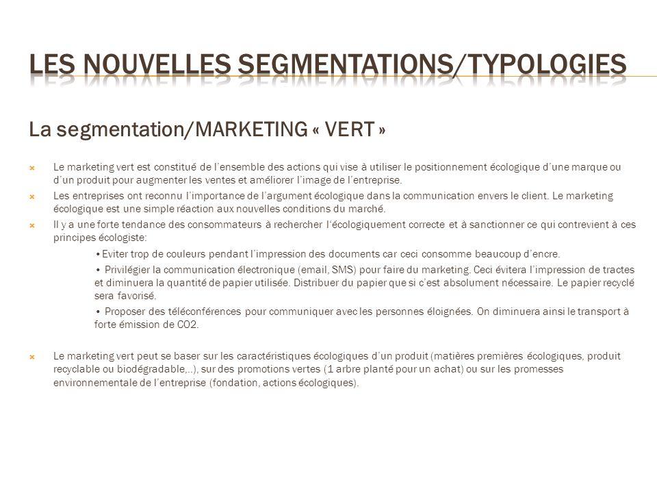 La segmentation/MARKETING « VERT » Le marketing vert est constitué de lensemble des actions qui vise à utiliser le positionnement écologique dune marq