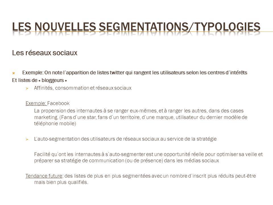 Les réseaux sociaux Exemple: On note lapparition de listes twitter qui rangent les utilisateurs selon les centres dintérêts Et listes de « bloggeurs »