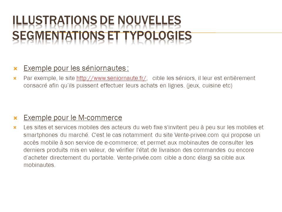 Exemple pour les séniornautes : Par exemple, le site http://www.seniornaute.fr/, cible les séniors, il leur est entièrement consacré afin quils puisse
