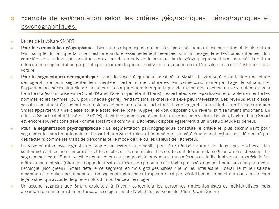 Exemple de segmentation selon les critères géographiques, démographiques et psychographiques. Le cas de la voiture SMART : Pour la segmentation géogra