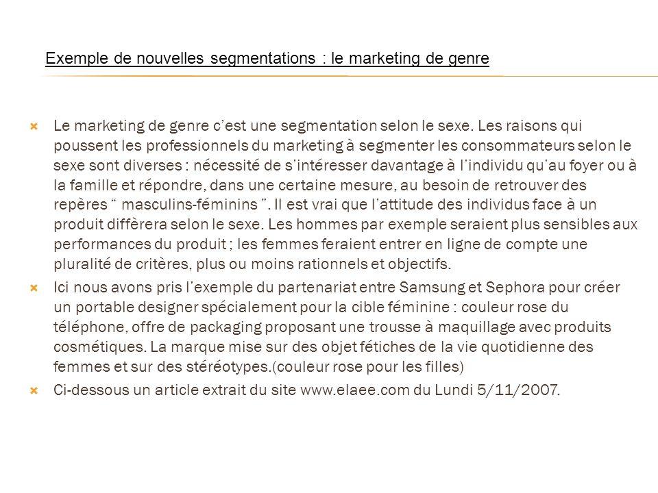 Le marketing de genre cest une segmentation selon le sexe. Les raisons qui poussent les professionnels du marketing à segmenter les consommateurs selo