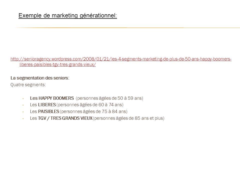 http://senioragency.wordpress.com/2008/01/21/les-4-segments-marketing-de-plus-de-50-ans-happy-boomers- liberes-paisibles-tgv-tres-grands-vieux/ La seg