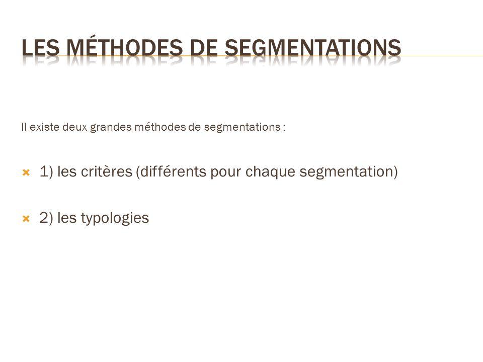 Il existe deux grandes méthodes de segmentations : 1) les critères (différents pour chaque segmentation) 2) les typologies