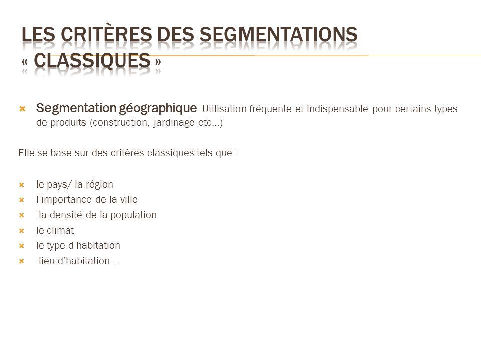 Segmentation géographique :Utilisation fréquente et indispensable pour certains types de produits (construction, jardinage etc…) Elle se base sur des