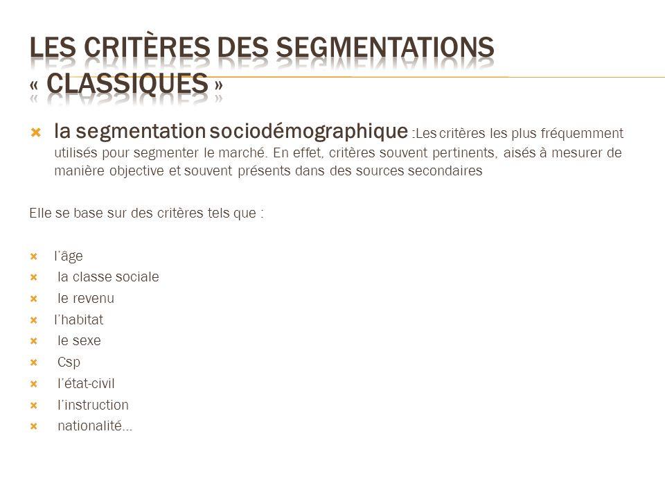 la segmentation sociodémographique :Les critères les plus fréquemment utilisés pour segmenter le marché. En effet, critères souvent pertinents, aisés