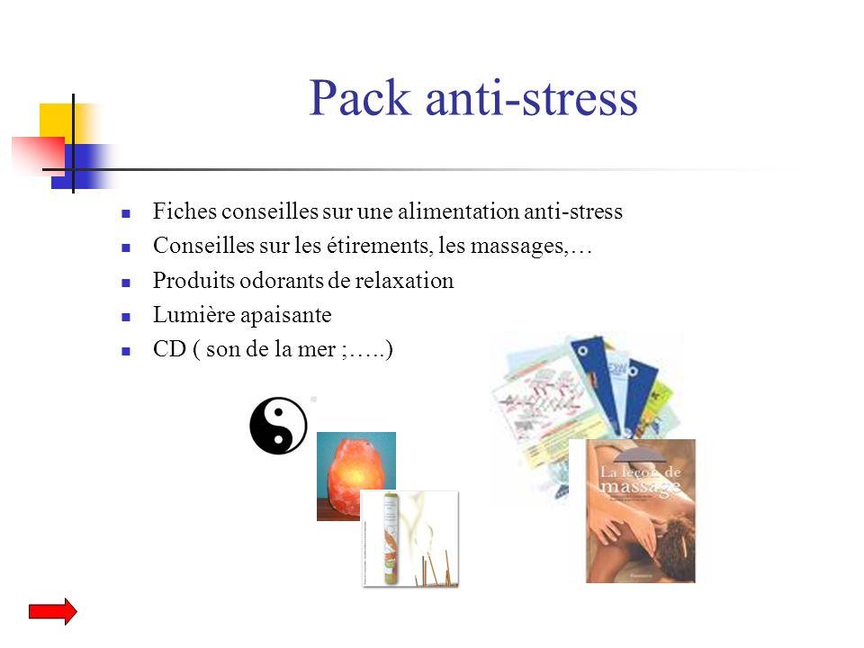 Pack anti-stress Fiches conseilles sur une alimentation anti-stress Conseilles sur les étirements, les massages,… Produits odorants de relaxation Lumi