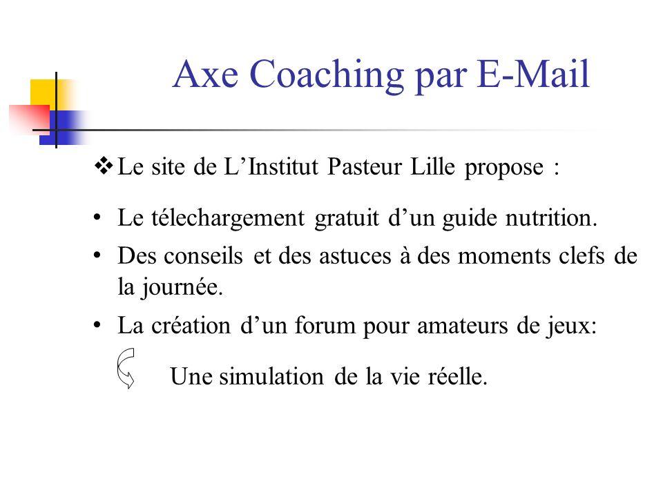 Axe Coaching par E-Mail Le site de LInstitut Pasteur Lille propose : Le télechargement gratuit dun guide nutrition. Des conseils et des astuces à des