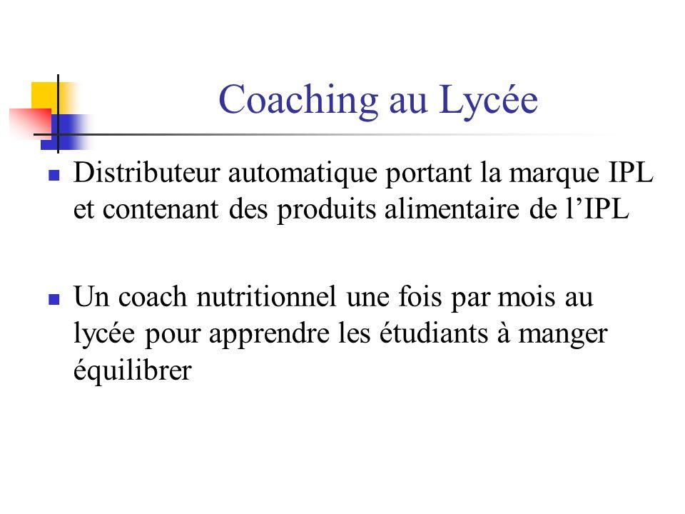 Coaching au Lycée Distributeur automatique portant la marque IPL et contenant des produits alimentaire de lIPL Un coach nutritionnel une fois par mois