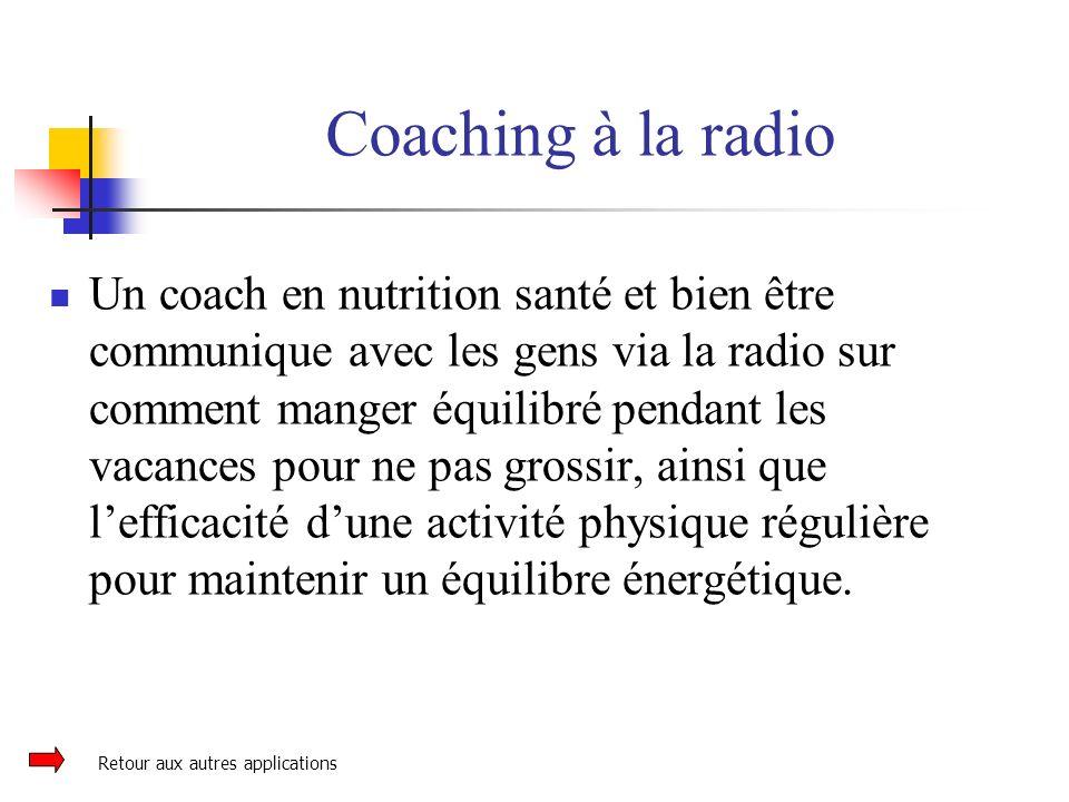Coaching à la radio Un coach en nutrition santé et bien être communique avec les gens via la radio sur comment manger équilibré pendant les vacances p