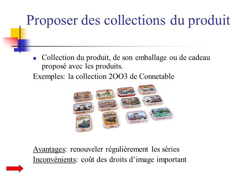 Proposer des collections du produit Collection du produit, de son emballage ou de cadeau proposé avec les produits. Exemples: la collection 2OO3 de Co