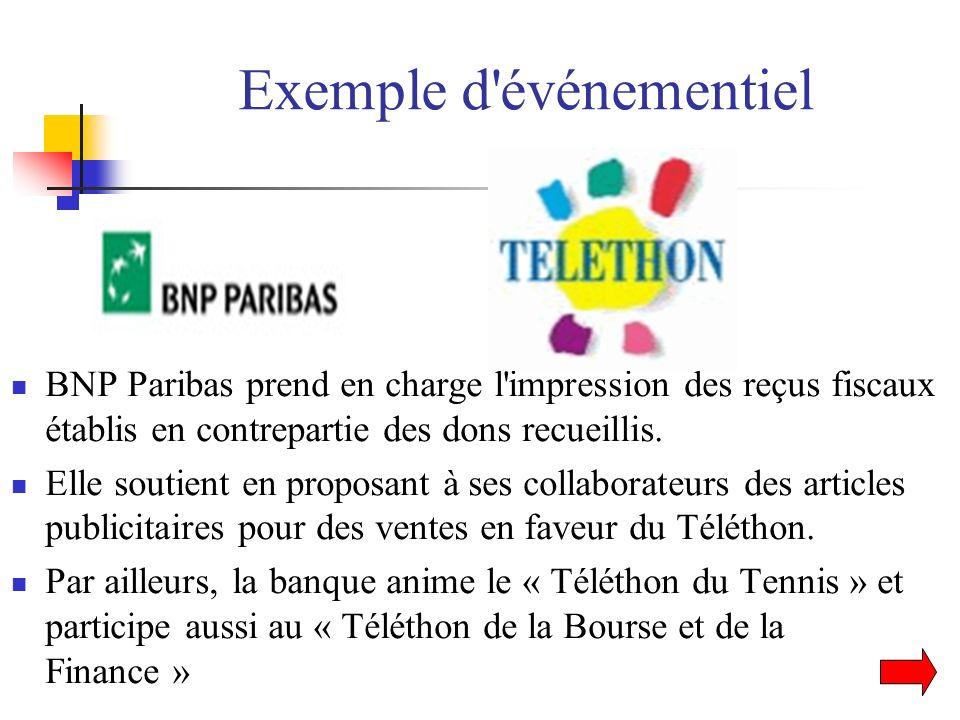 Exemple d'événementiel BNP Paribas prend en charge l'impression des reçus fiscaux établis en contrepartie des dons recueillis. Elle soutient en propos