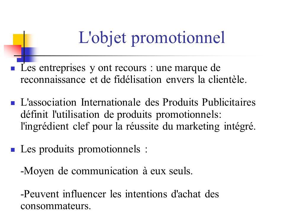L'objet promotionnel Les entreprises y ont recours : une marque de reconnaissance et de fidélisation envers la clientèle. L'association Internationale