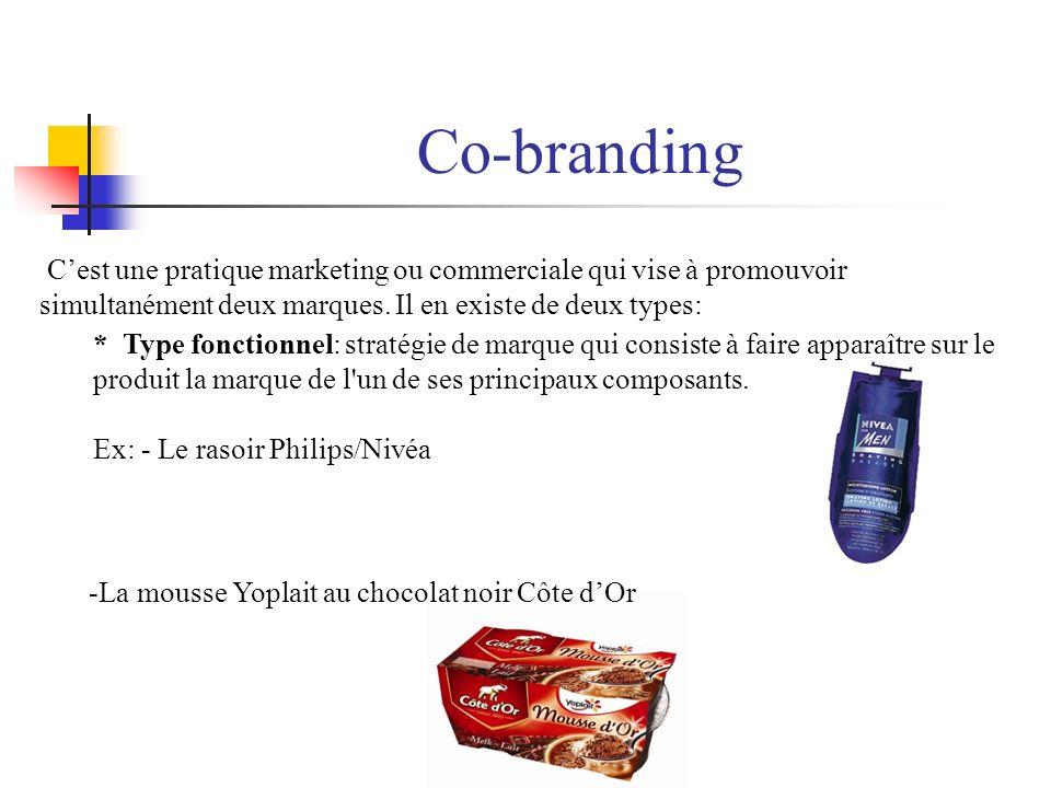 Co-branding Cest une pratique marketing ou commerciale qui vise à promouvoir simultanément deux marques. Il en existe de deux types: -La mousse Yoplai