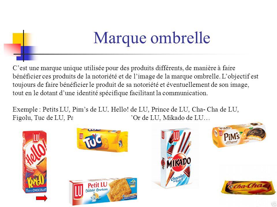Marque ombrelle Cest une marque unique utilisée pour des produits différents, de manière à faire bénéficier ces produits de la notoriété et de limage