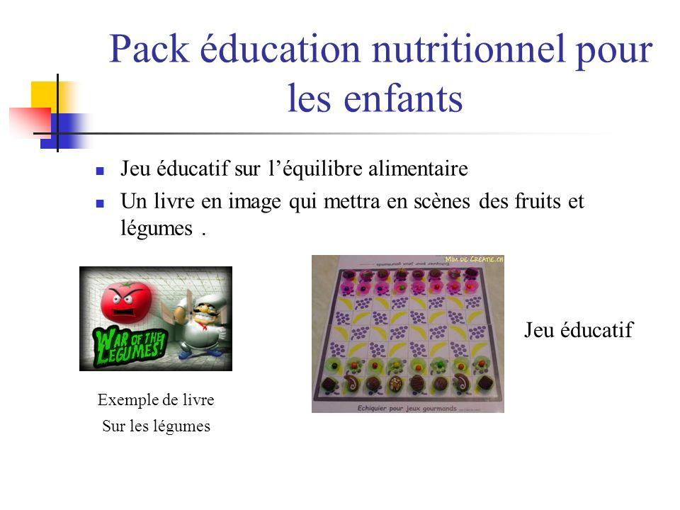 Pack éducation nutritionnel pour les enfants Jeu éducatif sur léquilibre alimentaire Un livre en image qui mettra en scènes des fruits et légumes. Jeu