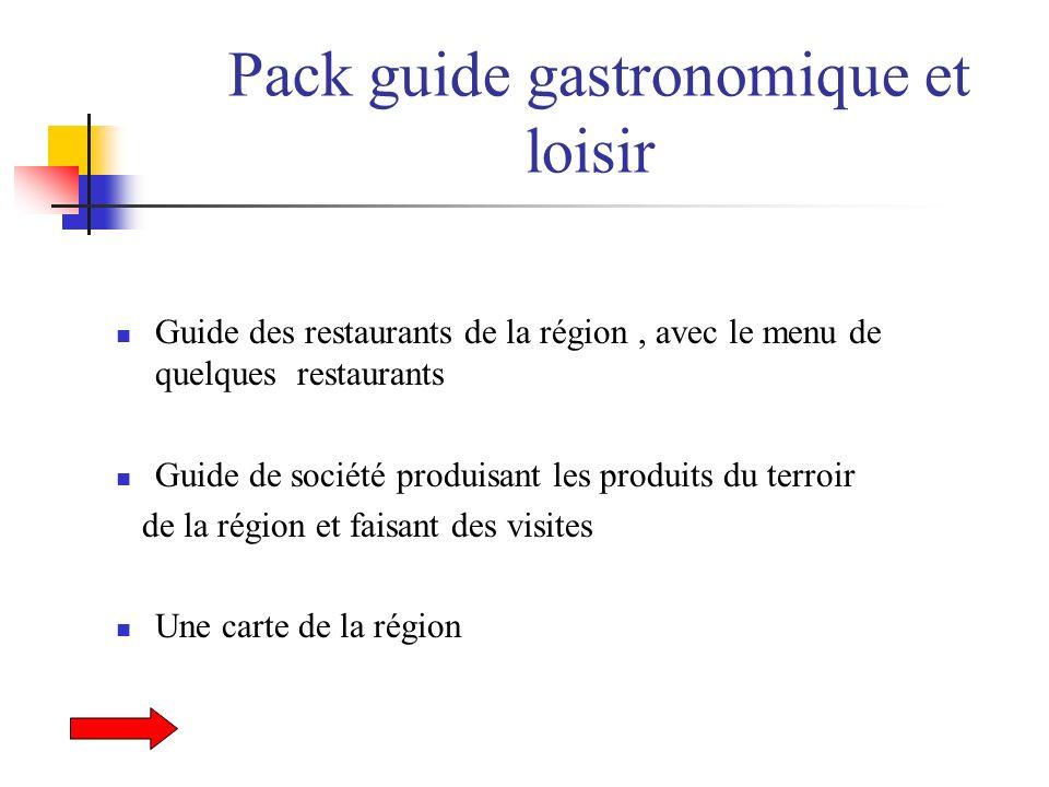 Pack guide gastronomique et loisir Guide des restaurants de la région, avec le menu de quelques restaurants Guide de société produisant les produits d