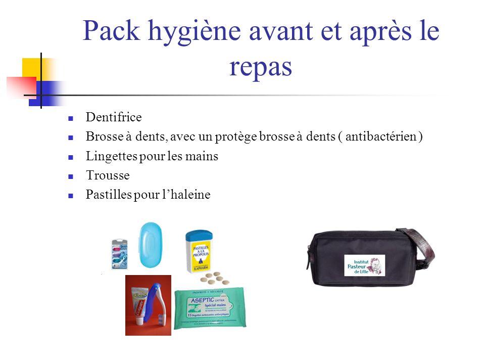 Pack hygiène avant et après le repas Dentifrice Brosse à dents, avec un protège brosse à dents ( antibactérien ) Lingettes pour les mains Trousse Past