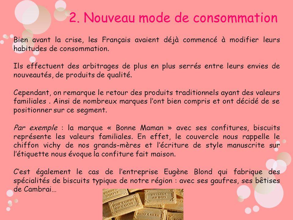 2. Nouveau mode de consommation Bien avant la crise, les Français avaient déjà commencé à modifier leurs habitudes de consommation. Ils effectuent des