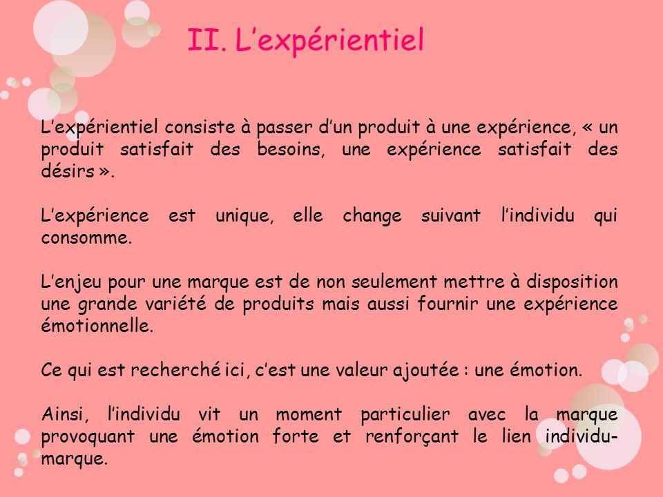 Lexpérientiel consiste à passer dun produit à une expérience, « un produit satisfait des besoins, une expérience satisfait des désirs ». Lexpérience e