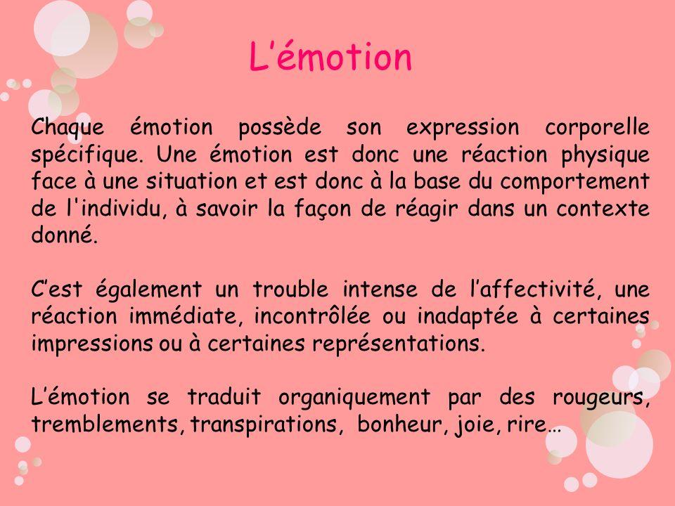 Chaque émotion possède son expression corporelle spécifique. Une émotion est donc une réaction physique face à une situation et est donc à la base du