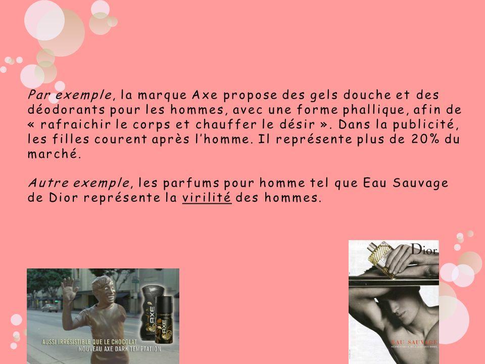 Par exemple, la marque Axe propose des gels douche et des déodorants pour les hommes, avec une forme phallique, afin de « rafraichir le corps et chauf